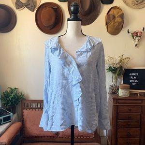Zara Basic Striped Ruffled Button Up